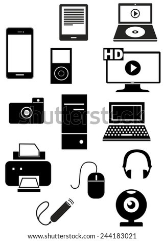 set of icons dedicated to equipment. - stock vector