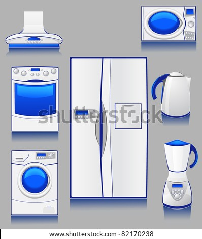 set of icons domestic technique for a kitchen - stock vector