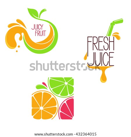 Set of icons, emblems and design elements for fruit and vegetable, freshly squeezed juice or juice bar menu