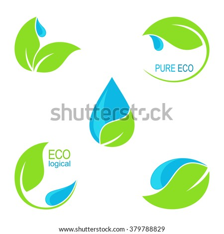 Set of icons, emblems and frames with green leaves and water droplets for ecology, natural and organic health care, beauty and gardening design
