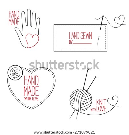 Set of icons, emblems and labels for handmade, tailor, hand sewing and knitting theme design - stock vector