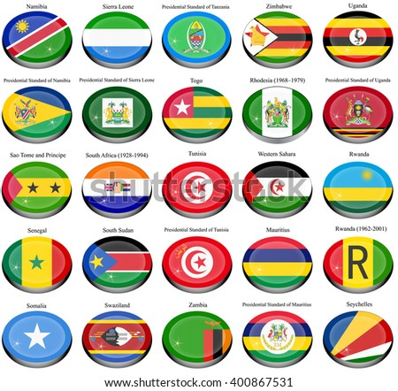 Set of icons. Flags of the Africa.