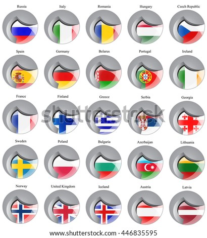 Set of icons. Flags of the Europe.    - stock vector