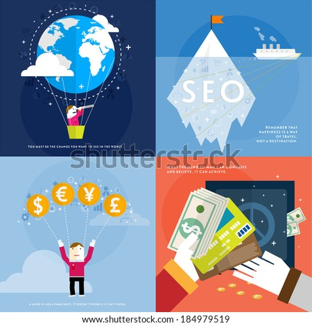 Set of icons. Flat Design. Mobile Phones, Tablet PC, Web and Apps vector icons. Marketing and Time Management Services Illustrations. SEO and Money. Responsive internet advertising and pay templates.  - stock vector