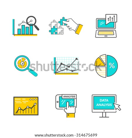 Set of icons flat style data analysis. Information optimization, trend development, idea and strategy, financial growth, infographic seo, process finance statistic illustration - stock vector