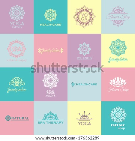 Set of icons for beauty, healthcare, wellness, fitness, yoga, SPA - stock vector