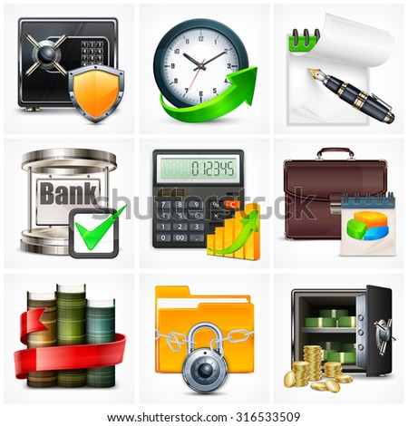 Set of icons for business info graphic, vector illustration - stock vector