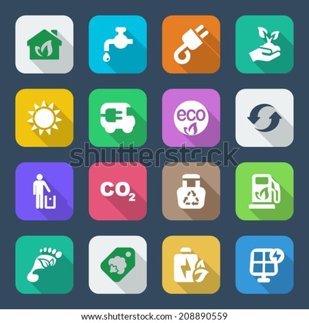 set of icons for ecology and environmental industry. with shadow - stock vector