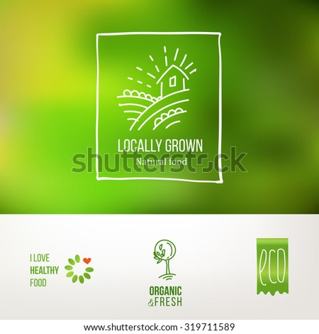 Set of icons for food and drink, restaurants and organic products. Natural ingredients logos. Natural food label collection. Food icon. Farm and locally grown. Food logo set. Natural food logo design. - stock vector