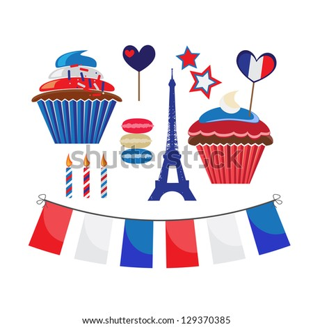 set of icons for french style party - stock vector
