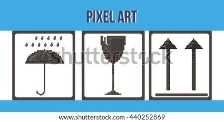 Set of icons for mailing boxes. Vector illustration. Pixel art. Broken glass, umbrella and rain, arrows. Background, banner, poster, logo. - stock vector
