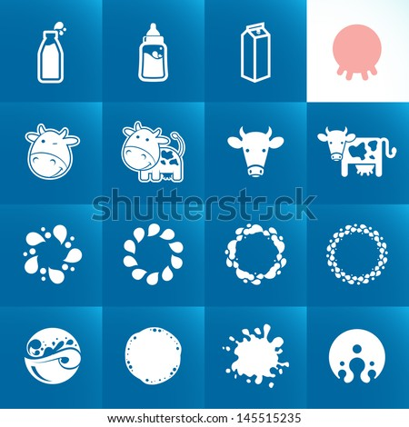 Set of icons for milk. Abstract shapes and elements. - stock vector