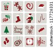 Set of icons for New Year and Christmas - stock photo