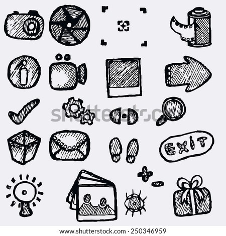 Set of icons for photographer hand-drawn.