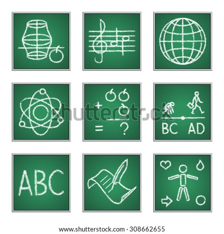 set of icons for primary school subjects written on blackboard with chalk - stock vector