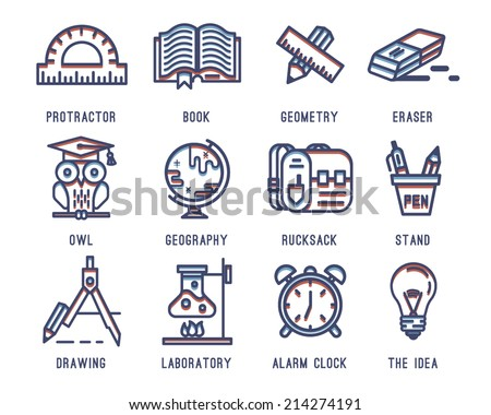 Set of icons for school.Learning and education.Briefcase, Backpack, Knapsack, School, Geography. School supplies, pencil, eraser, pen, compass, clock, globe, book, lamp, tube, owl, line,protractor. - stock vector