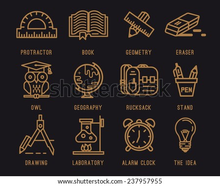Set of icons for school.Learning and education.Briefcase , Backpack, Knapsack, School, Geography. School supplies, pencil, eraser, pen, compass, clock, globe, book, lamp, tube, owl, line,protractor. - stock vector