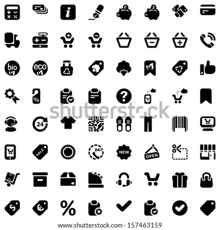 Set of icons for shops and shopping - stock vector
