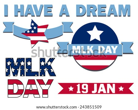set of icons for the Martin Luther King Day - stock vector