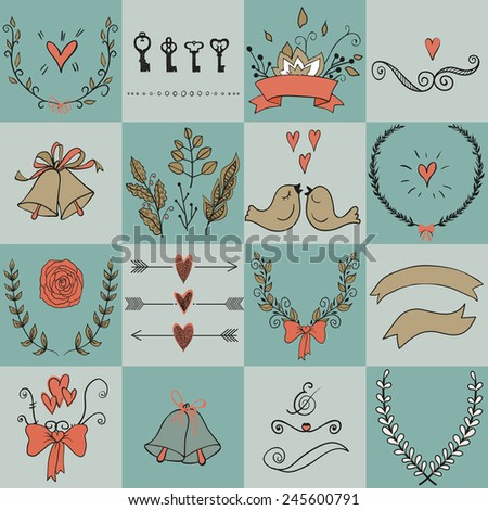 Set of icons for Valentines day, Mothers day, wedding, love and romantic events. Set of icons for Valentines day, Mothers day, wedding, love and romantic events. - stock vector