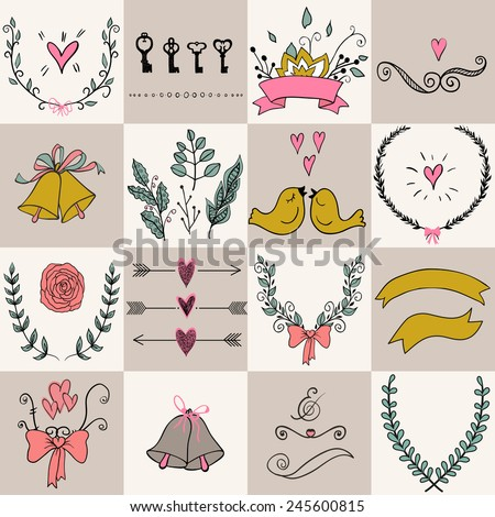 Set of icons for Valentines day, Mothers day, wedding, love and romantic events. Used for  wedding invitation, for your design. Design elements in vector. - stock vector