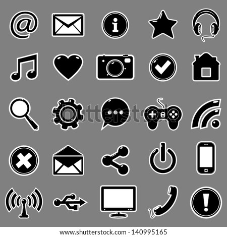 Set of 25 icons for website - stock vector