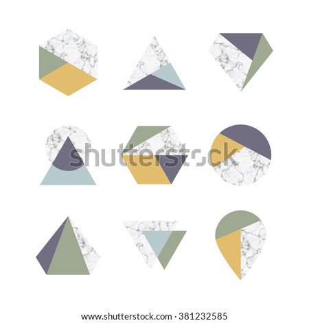 Set of icons, geometric logo with marble texture - stock vector