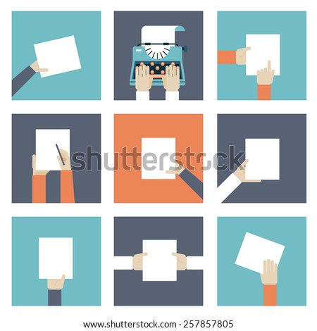Set of icons hands holding piece of paper. Vector illustration - stock vector