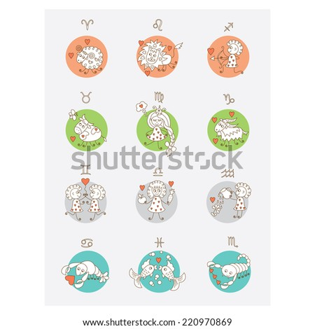 Set of icons. Horoscope. Zodiac Signs. - stock vector