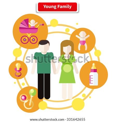 Set of icons in flat design around lovely young family. Family, young couple, young family at home, young family outdoors, happy family. Father, mother, baby - stock vector