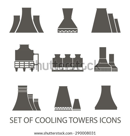 Set of icons in the form of cooling towers. Vector illustration. Silhouette icons - stock vector
