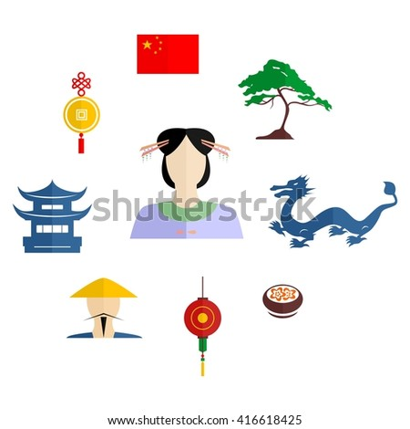 set of icons in the style of a flat design on the theme of China.