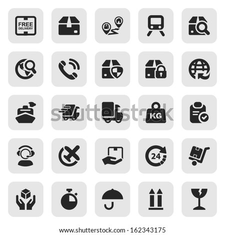 set of icons isolated for logistics in black & square - stock vector