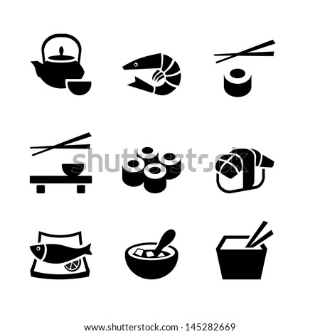 Set of 9 icons. Japanese food - stock vector
