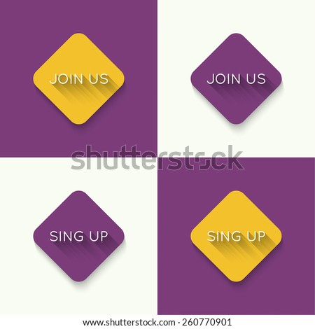 set of icons join us, sing up. Buttons of different colors. Flat design. long shadows - stock vector