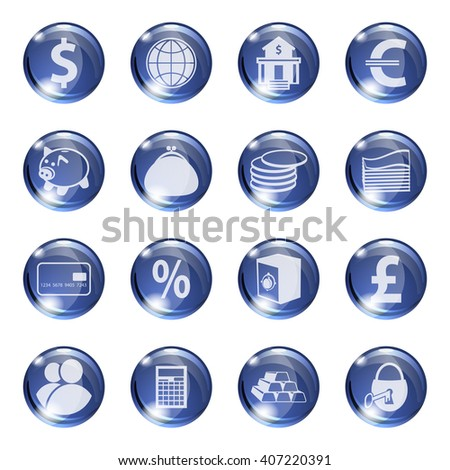 Set of icons of blue color on a subject bank. Business and Finance. Grouped for easy editing. Vector images. - stock vector