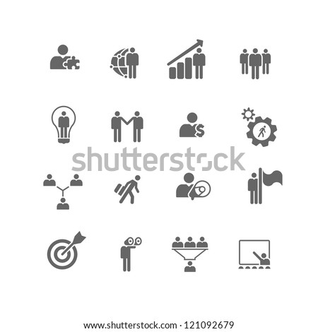 Set of 16 icons of business and management metaphors. - stock vector