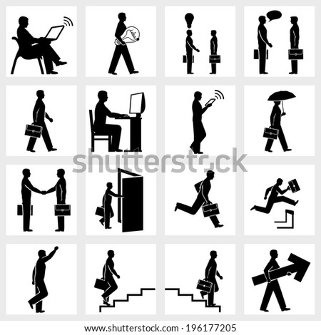 Set of icons of Business people silhouettes - stock vector
