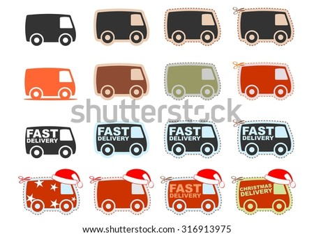 Set of icons of cars. Easy to edit with space for any text. Vector - stock vector