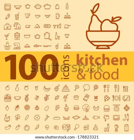 set of 100 icons of different types of cookware, food, fruits and vegetables on a colored background - stock vector
