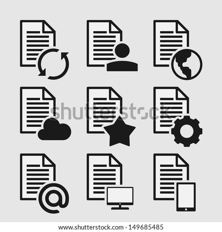 Set of 9 Icons of Document Types - stock vector
