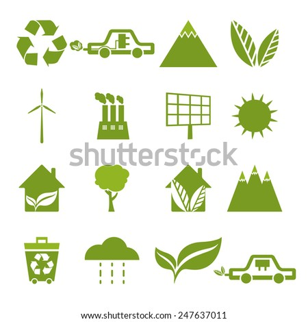 Set of icons of ecology, environment, green energy. Vector  - stock vector