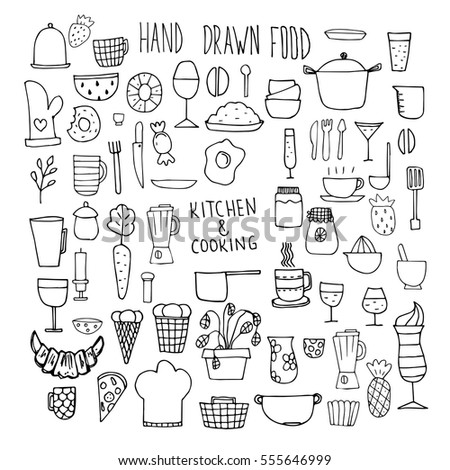 Set of icons of food and ware. Doodles. Hand-drawn elements. Cutlery, food, utensils.