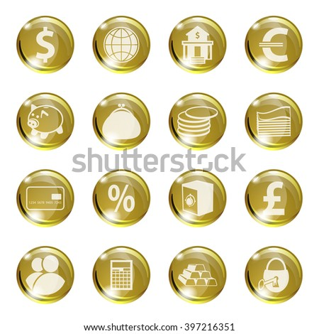 Set of icons of gold color on a subject bank. Business and Finance. Grouped for easy editing. Vector images. - stock vector