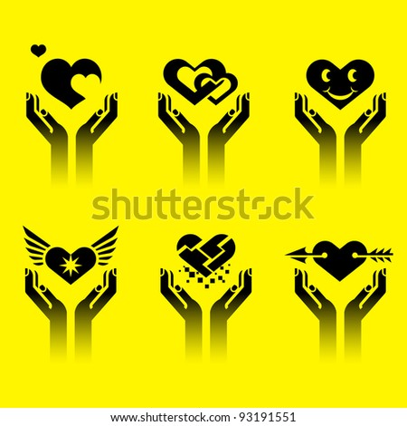 set of icons of heart with hand - stock vector