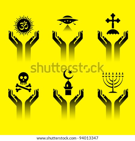 set of icons of human hands with religion symbols - stock vector