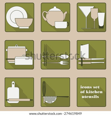 Set of icons of kitchen utensils in green tones - stock vector