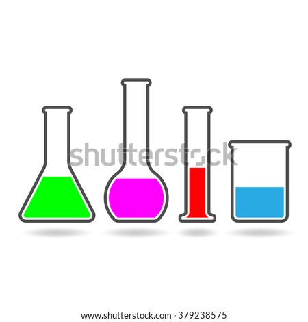 Set of icons of laboratory glassware