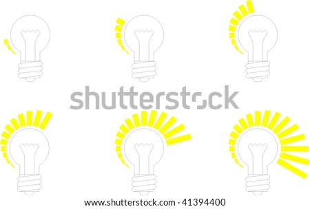 Set of icons of lamps for a regulator - stock vector