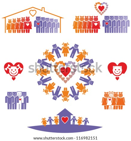 Set of icons of love, dating, relationships. - stock vector